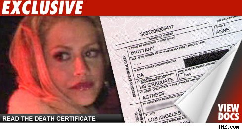 Brittany Murphy Death Certificate