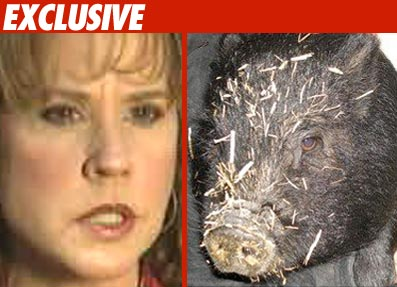 Linda Blair with Pig