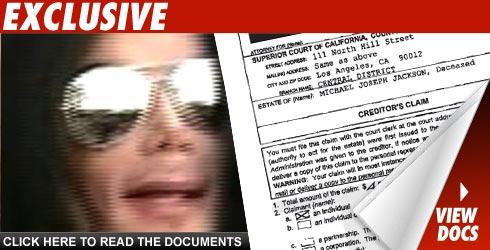 Michael jackson creditor's claim
