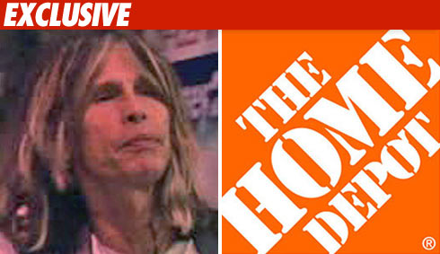 Steven Tyler sings at a Home Depot