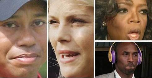 Tiger Woods, Elin Nordegren, Oprah Winfrey, Kobe Bryant