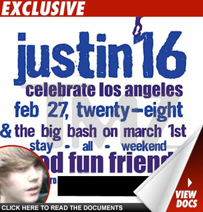 Justin Bieber sent out invites to his upcoming 16th birthday party -- and