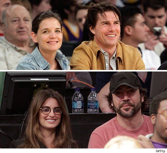 Tom Cruise and Penelope Cruz went to the Lakers game last night  just not