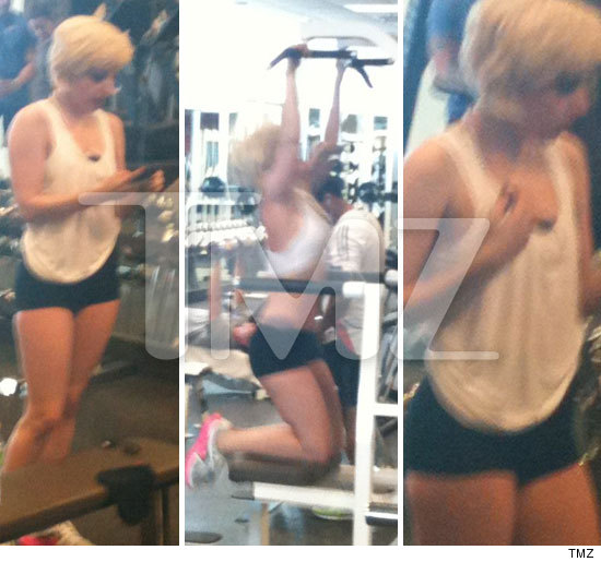 Wearing regular fitness gear, Lady Gaga took time out from being Lady Gaga