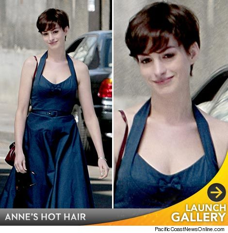 anne hathaway haircut short. Anne Hathaway popped up in