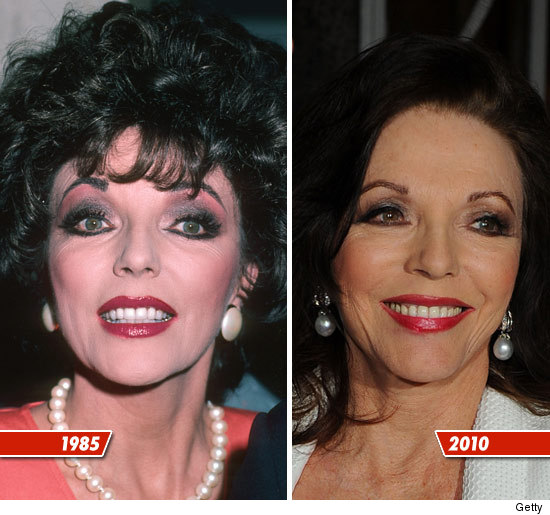Joan Collins plastic surgery before and after pictures? (image hosted by tmz.com)
