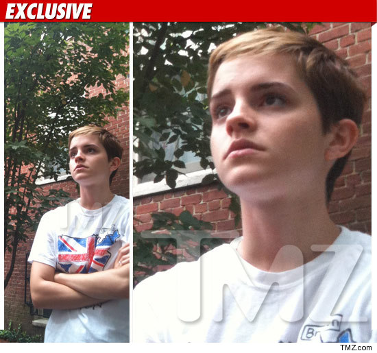 Emma Watson modeled her little boy haircut during an emergency evacuation at