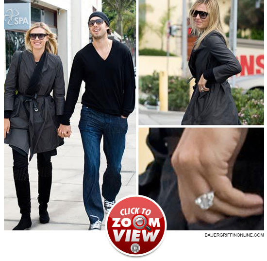 Tennis whiz Maria Sharapova showed off the giant engagement ring LA Laker