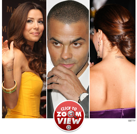 Eva Longoria Tattoo Both Eva and Tony had Roman numerals tatted on