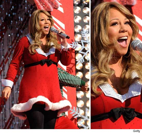 Mariah Carey Pregnant Santa Dress