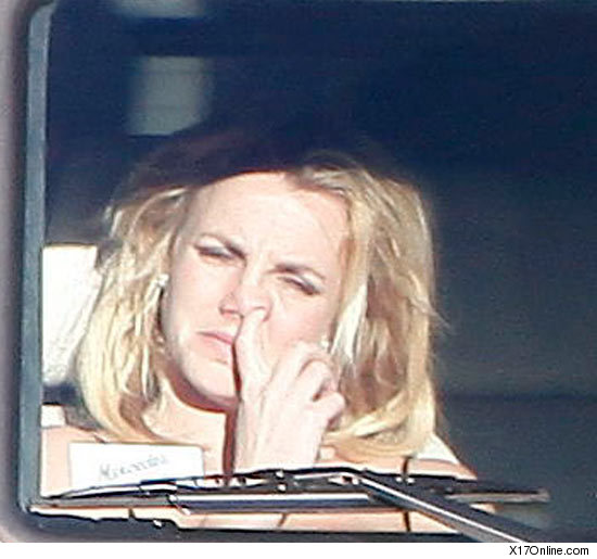 Britney Spears looking up her nose