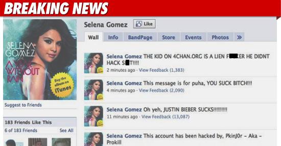 Seleba Gomez Facebook Hacked