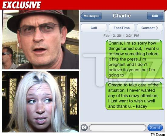 Kacey Jordan texts she is pregnant to Charlie Sheen