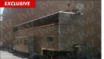 Ashton Kutcher -- MASSIVE Trailer on 'Men' Set