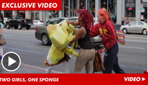 SpongeBob SquaresUp -- FIGHTS Two Women [VIDEO]