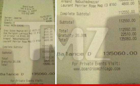 Zac Efron Champagne bill