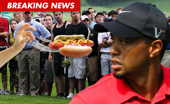 Tiger Woods hit with a hot dog