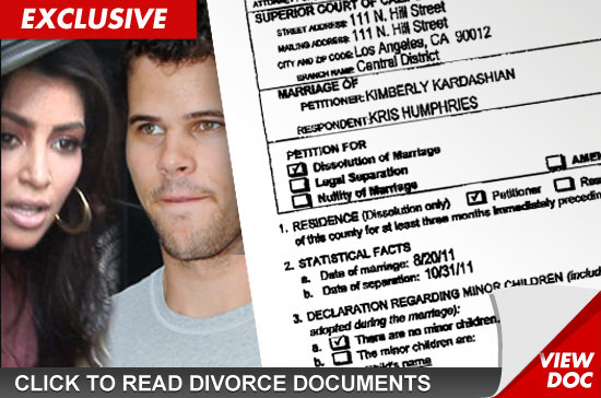 Kim Kardashian Divorce Papers