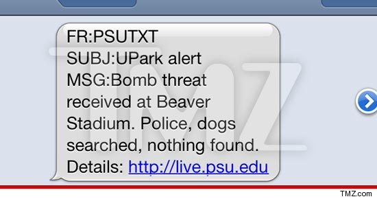 Penn State bomb threat text