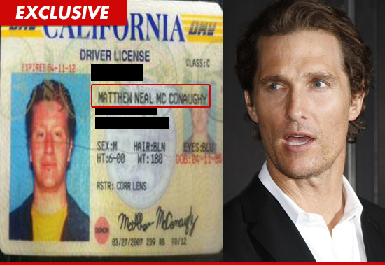 Matthew McConaughy driver license