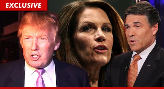 Donald Trump, Michele Bachmann and Rick Perry