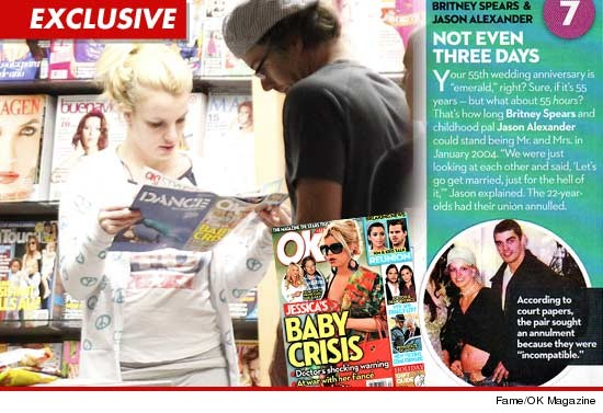Britney Spears reading about herself in OK Magazine