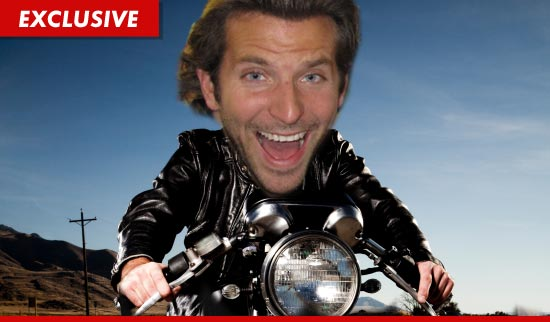Bradley Cooper on a motorcycle