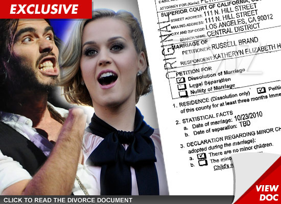 Katy Perry and Russell Brand divorce documents