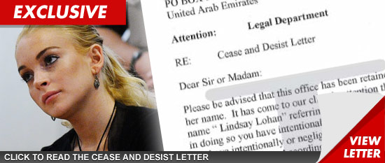 Lindsay Lohan cease and desist legal documents