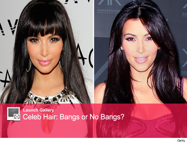 Kim Kardashians with bangs