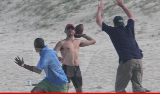 Barack Obama playing beach football