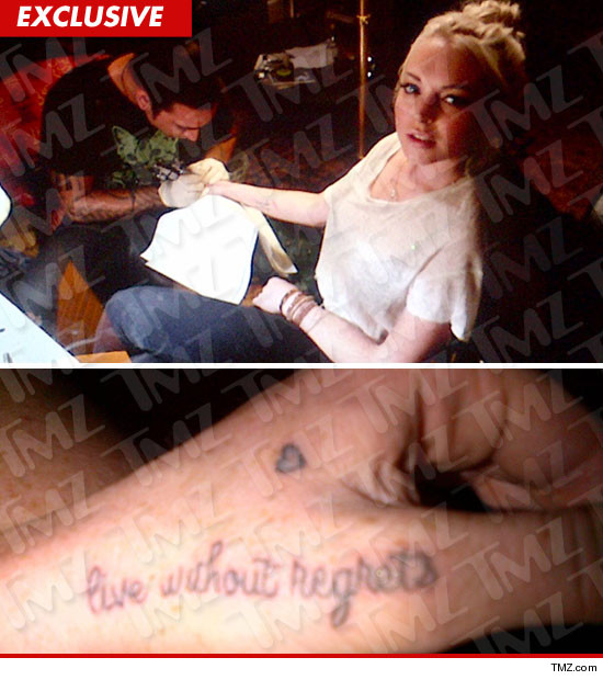 Lindsay Lohan wrist tattoo, live without regrets