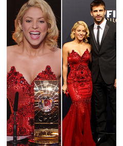 Shakira Red Hot in Gorgeous Gown at Soccer Gala!