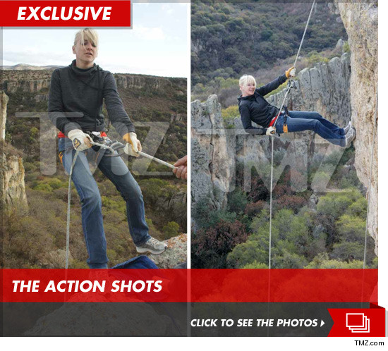 Anna Faris rappelling down an incredibly scary cliff in Mexico