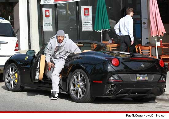 Nick Cannon and his convertible Ferrari