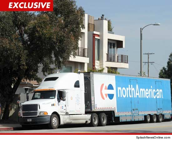 Moving truck in front of Lindsay Lohans Venice home