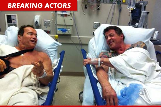 Arnold Schwarzenegger and Sylvester Stallone got his and his shoulder surgeries at a hospital yesterday