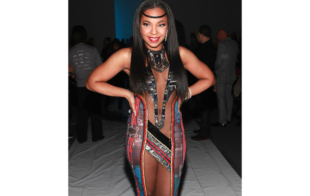 Whoa! Ashanti Steps Out In Crazy Revealing Gown