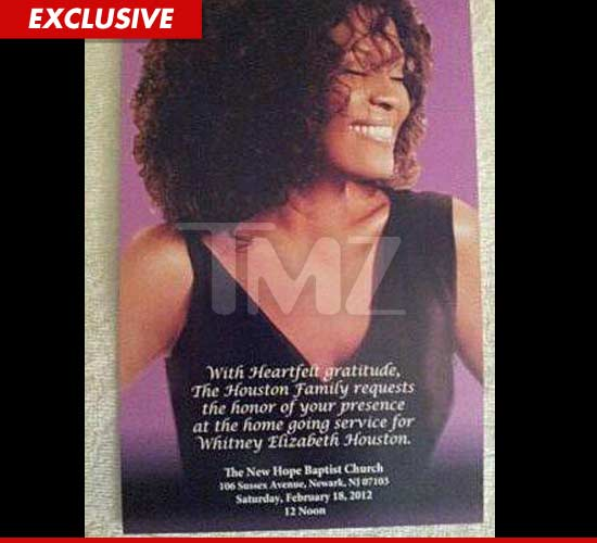 Official Whitney Houston invitation... not a funeral... but rather a home going service.