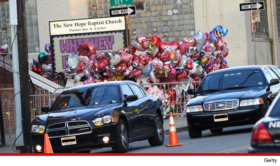 A makeshift Whitney Houston memorial outside the New Hope Baptist Church in Newark, NJ.