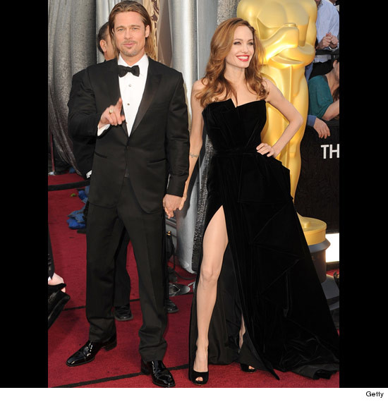 Oscars: Brad Pitt and Angelina Jolie and her black dress