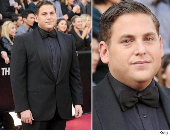 Jonah Hill wears a little black tux to the Oscars.