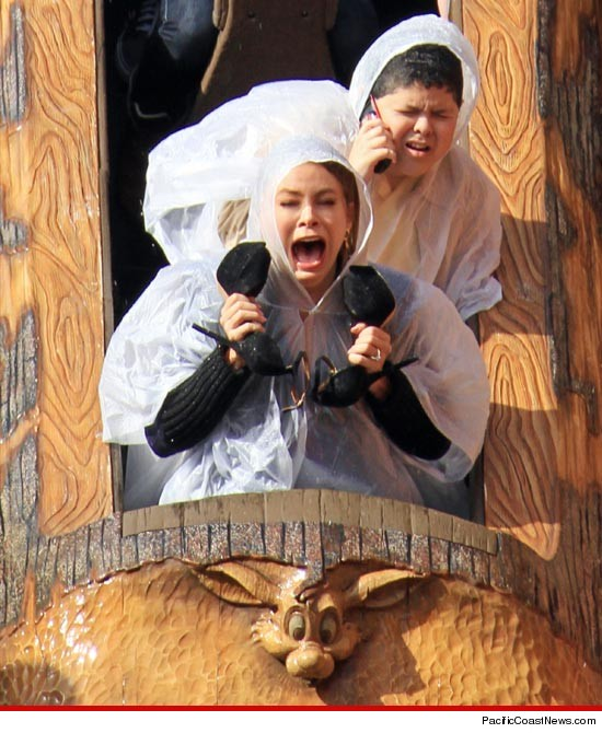 Sophia Vergara screams at Splash Mountain.