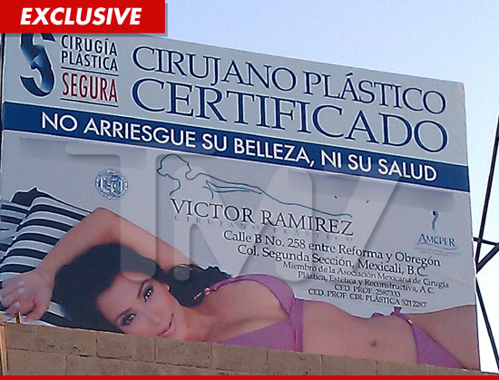 Kim Kardashian on a Mexican, plastic surgery billboard
