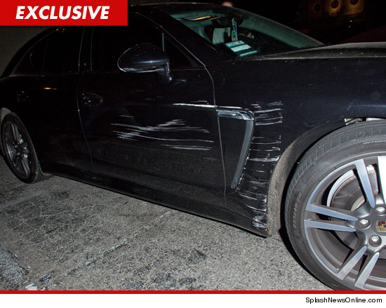 Lindsay Lohan -- Car damage to her Porsche