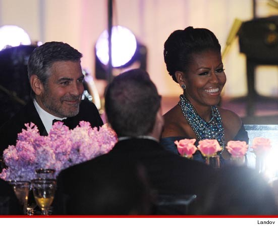 GEORGE CLOONEY Sits Next to Michelle Obama at White House Dinner