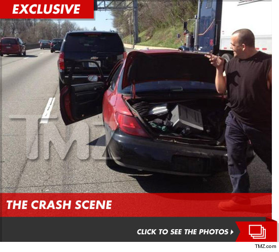 John Cena and his SUV were crashed into from behind