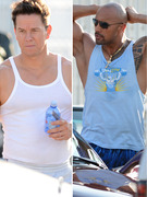 Mark Wahlberg &amp; The Rock Show Buff Bods on Set!