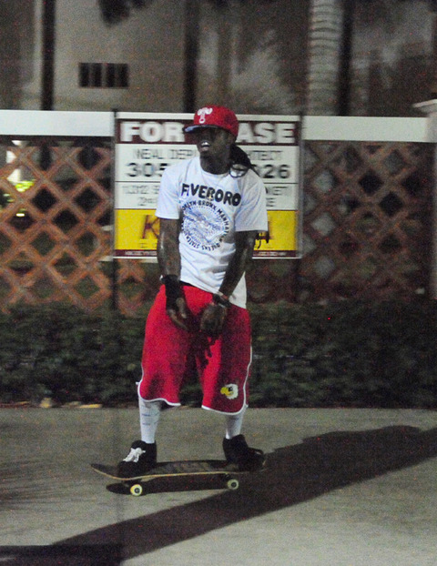 Lil Wayne skateboarding photos