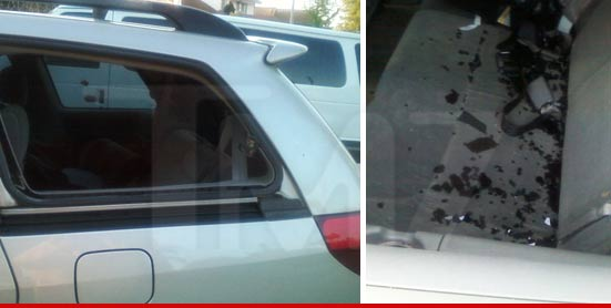 The car belonging to Octomom had the window smashed.